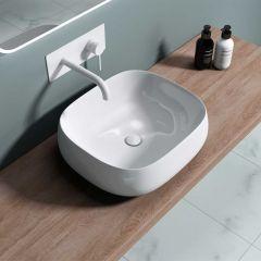 Counter Top Rouned Wall Rectangular Bathroom Basin 460 x 420mm | Bruessel 5104
