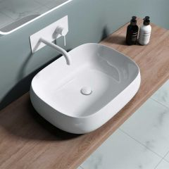 Counter Top Square Curved Bathroom Wash Basin 500 x 380mm | Bruessel 5105