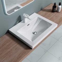 Semi Recessed Rectangular Solid Stone Wash Basin 600 X 480 X 130mm | Colossum 1 600mm