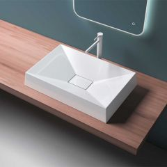 Counter Top Stone Resin Basin Concealed Waste Design 700 x 460mm Colossum 16 Eighth Image