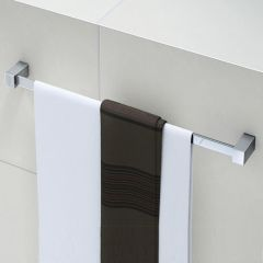 Contemporary Square Wall Mounted Chrome Bathroom Towel Rail 600mm Second Image