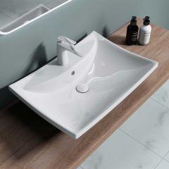 Curved Square Ceramic Counter Top Bathroom Basin 600 x 430mm | Bruessel 709