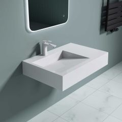 Counter Top Wall Hung Resin Stone Sleek Basin With Side Shelf  Integrated Waste Colossum 11 Second Image