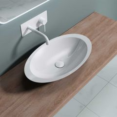 Counter Top Oval Stone Resin Bathroom Basin 593 x 351mm First Picture