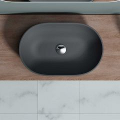 Counter Top Rounded Stone Resin Basin 540 x 340mm | Colossum 808