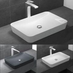 Counter Top Rectangle Stone Resin Basin 600 x 400mm | Grey Matt | Colossum 815