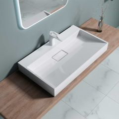 Rectangular Wall Hung & Counter Top Stone Resin Basin Tap Hole Colossum 19 First Image