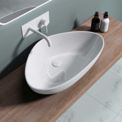 Innovative Curved Triangle Ceramic Bathroom Basin 670 x 440mm | Bruessel 895