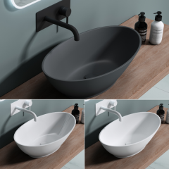 New Product Counter Top Oval Deep Fill Stone Resin Basin 625 x 345mm Colossum 807 First Image