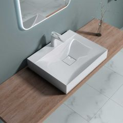 Counter Top Rectangular Stone Resin Basin Concealed Waste | Colossum 810