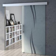 900mm Interior Frameless Sliding Glass Door Vertical Swirl Screen