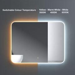 Wall Mounted Illuminated LED Bathroom Mirror Touch Sensitive Switch & Anti Fog | 900 x 700mm