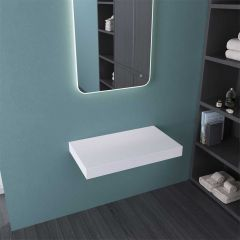 White Stone Resin Shelf Surface for Counter Top Basin