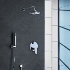Chrome Twin Thermostatic Shower Mixer 2 Way Valve Second Image