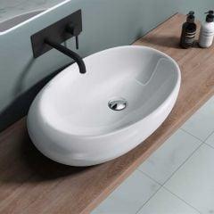 Counter Top Oval Ceramic Bathroom Wash Basin Shallow Fill 690 x 420mm | Bruesel 488A