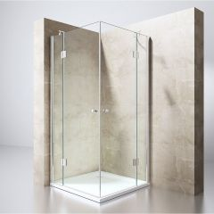 Square L Shape Space Saving Shower Enclosure Hinged Door 8mm Safety Glass Ravenna 1 Second Image